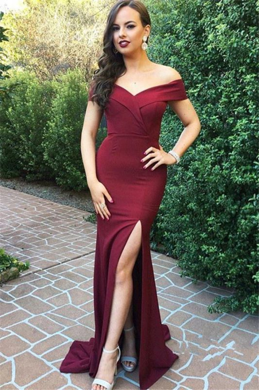 New Arrival Off The Shoulder Simple Prom Dresses | Side Split Floor Length Formal Gowns