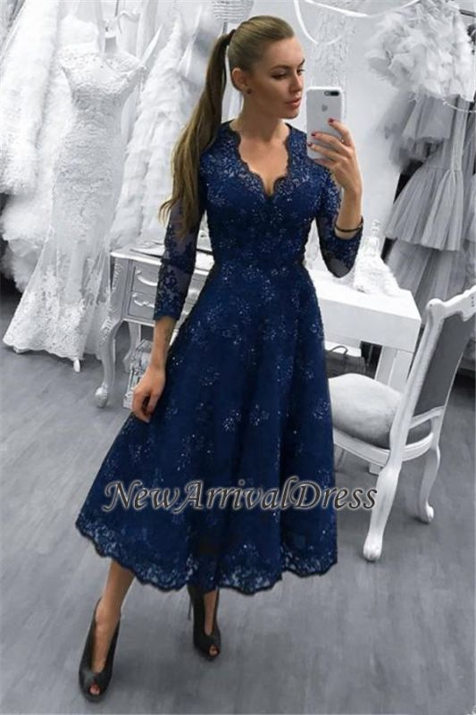 a24f9daa4676 A-line V-Neck Beadings Dark-Navy Tea-Length Lace Evening Dress [Item Code:  D153413442653447]