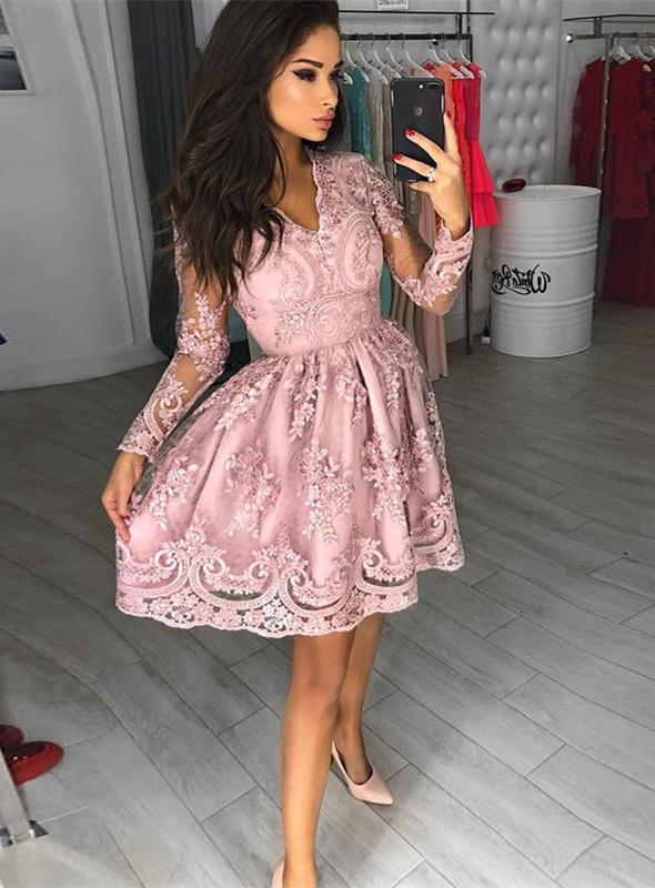 Modest Long Sleeve Lace Appliques Homecoming Dress   Short Party Gown