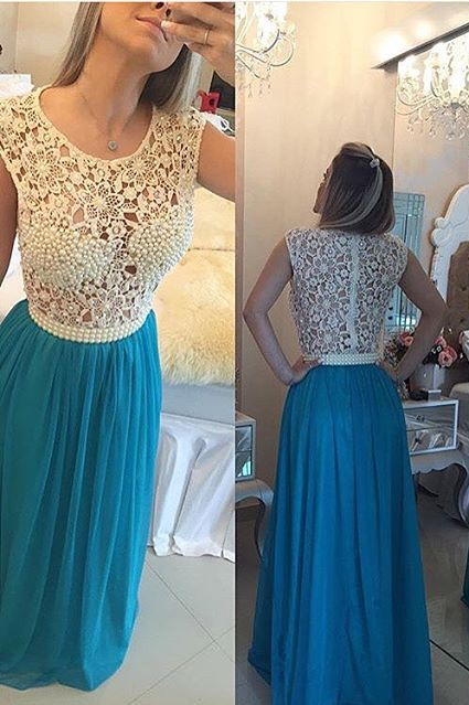 Long Blue Prom Dresses Lace Capped Sleeves Pearls Chiffon Sheer Bodice Formal Evening Dresses