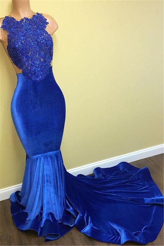 Mermaid Sleeveless Formal Dresses Long | Gorgeous Blue Lace Prom Dresses Cheap FB0014