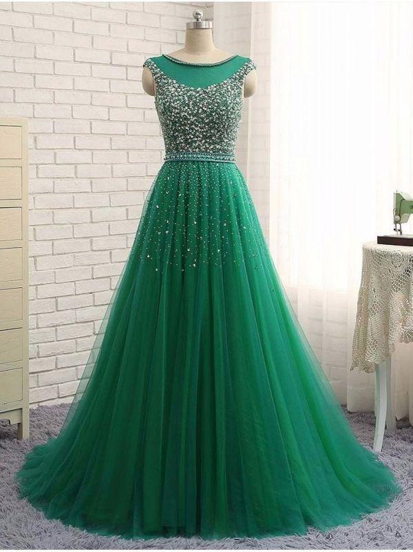 Beaded Custom Made A-line Tulle Brilliant Scoop Sleeveless Green Long Prom Dresses Cheap