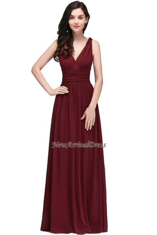 Ruched Chiffon A-line V-Neck Burgundy Evening Dresses
