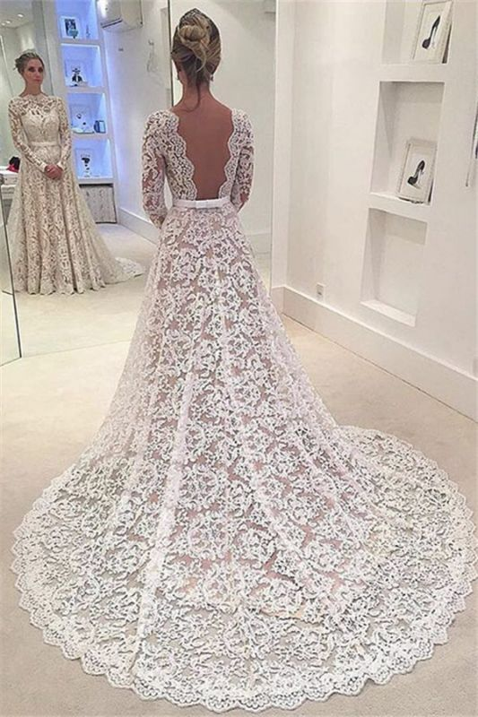 Lace Appliques Backless Bowknot Elegant Long Sleeve Cheap Online A-Line Wedding Dresses