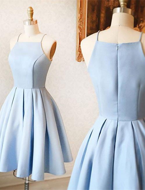Simple Blue Sleeveless Custom Made A-line Zipper Sexy Short Homecoming Dresses BA7095