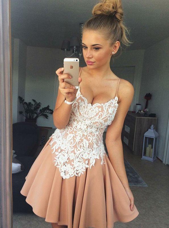 Elegant Spaghetti-Strap Homecoming Dresses  Classic Appliques Cocktail Dresses