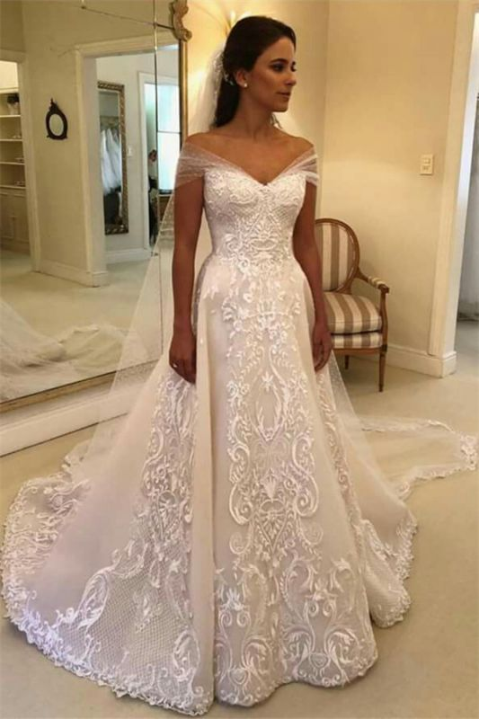 Glamorous Off Shoulder A-line Wedding Dresses | Appliques Court Train Bridal Gowns