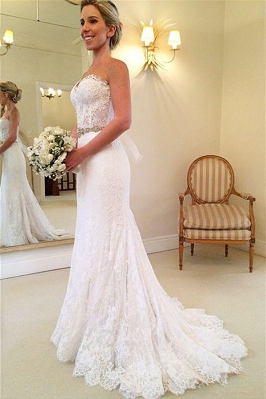Schönes Schatz-weißes Spitze-Hochzeits-Kleid-populäres langes Kristall-Brautkleid für Frauen