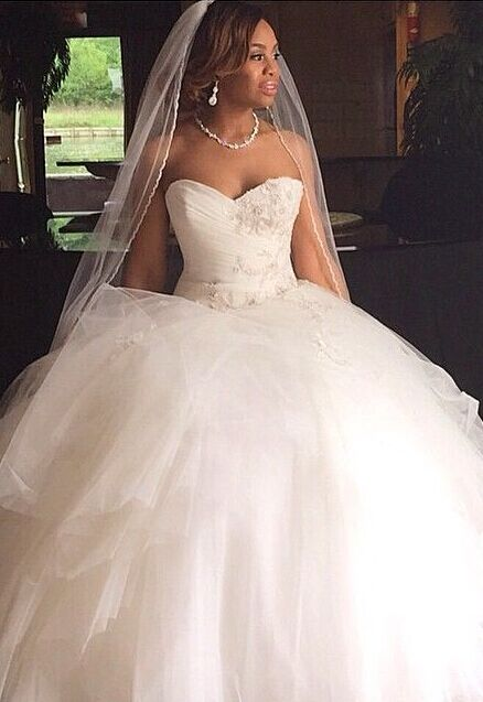 Ruffles Princess Sweetheart Tulle Ball Gown Wedding Dresses Cheap