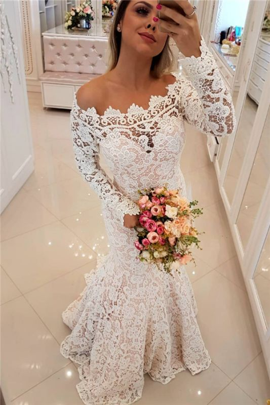 Off The Shoulder Lace Mermaid Wedding Dresses   Long Sleeve   Bridal Gowns