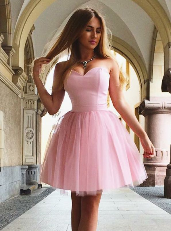 Sweetheart Pink Homecoming Dresses  Classic Sexy Sleeveless Cocktail Dresses