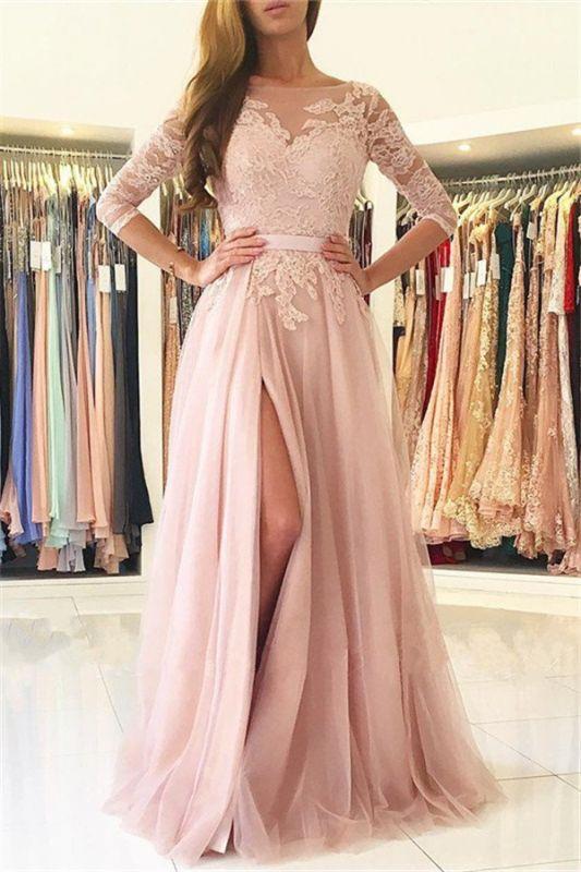 Elegant Split Half-Sleeve Lace Long Evening Dress