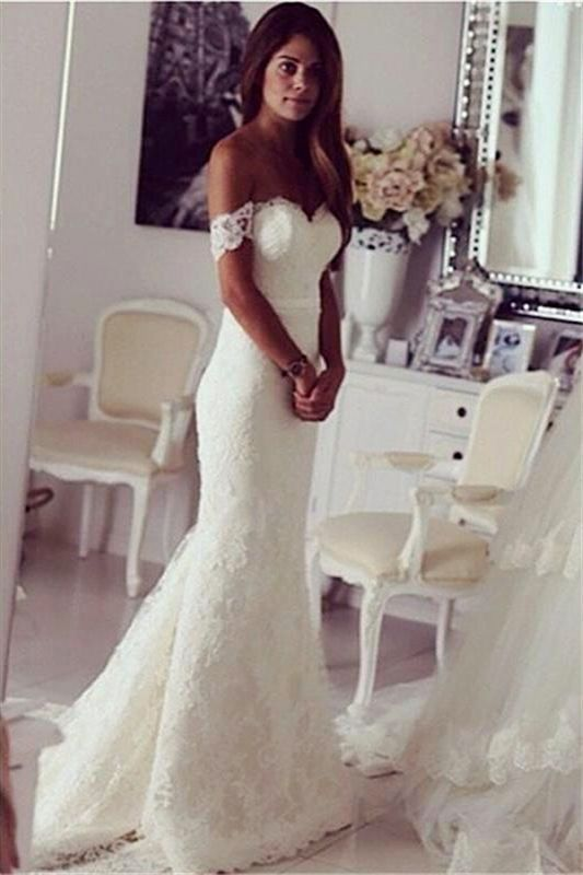 Off The Shoulder Lace Wedding Dresses Simple | Cheap Close-fitting Beach Bridal Gowns BA3864