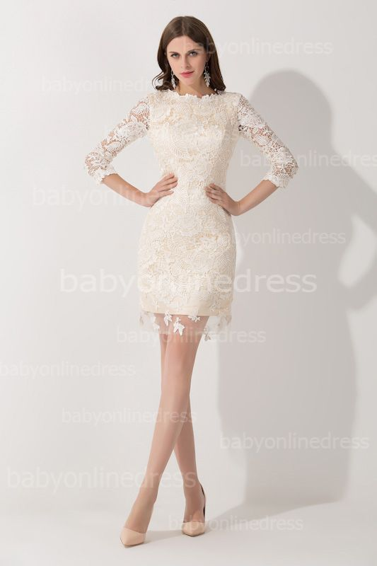 Elegant Lace 3/4 Sleeves Sheath Mother of The Bride Dress
