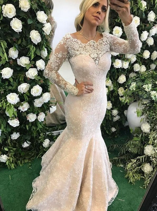 Glamorous Sexy Mermaid Evening Dresses | Lace Long Sleeves Prom Dresses with Pearls