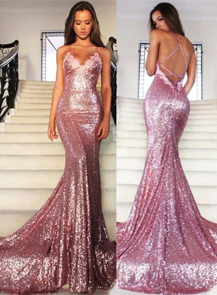 Sexy Pink Sequined Mermaid Sleeveless Spaghetti Strap Prom Dress