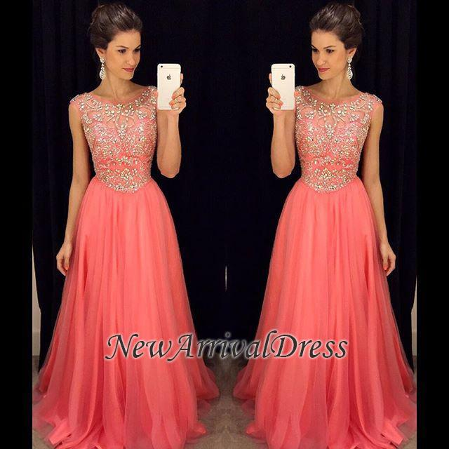 Crystal Tulle Sleeveless A-Line Scoop Popular Prom Dress AP0