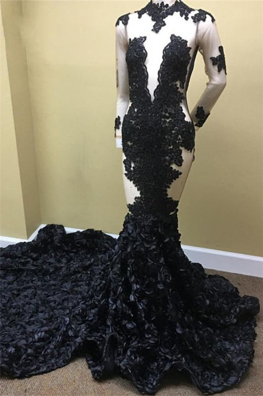Sheer Tulle Black Long Prom Dresses Cheap | Long Sleeve Evening Dress with Floral Train