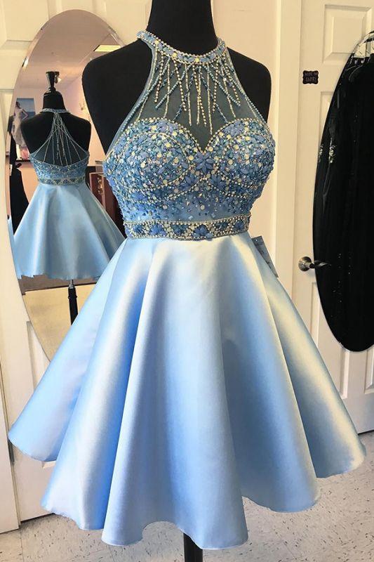 Modest Halter Beads Sleeveless Custom Made A-line Blue Sexy Short Homecoming Dresses