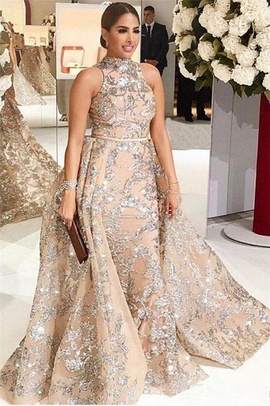 Silver Beads Appliques Overskirt Prom Dresses Long | Sleeveless Champagne Cheap Formal Dress