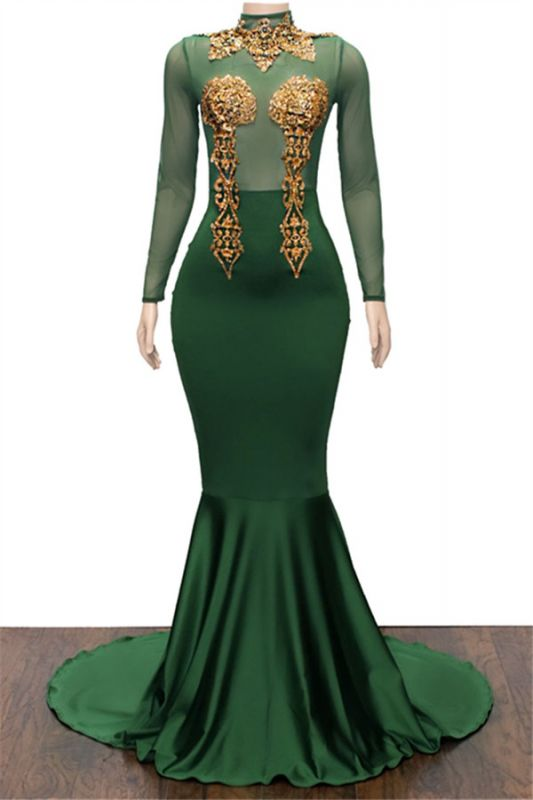 Gold Appliques Green Long Prom Dresses Cheap | Mermaid Long Sleeve Formal Evening Dresses