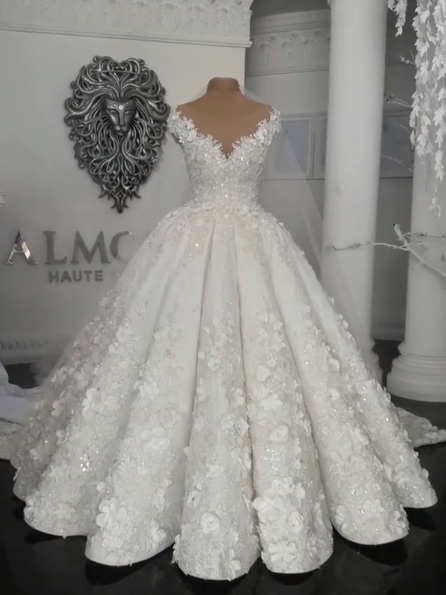 Gorgeous Ball Gown Wedding Dresses | Off The Shoulder Flowers Beaded Bridal Gowns