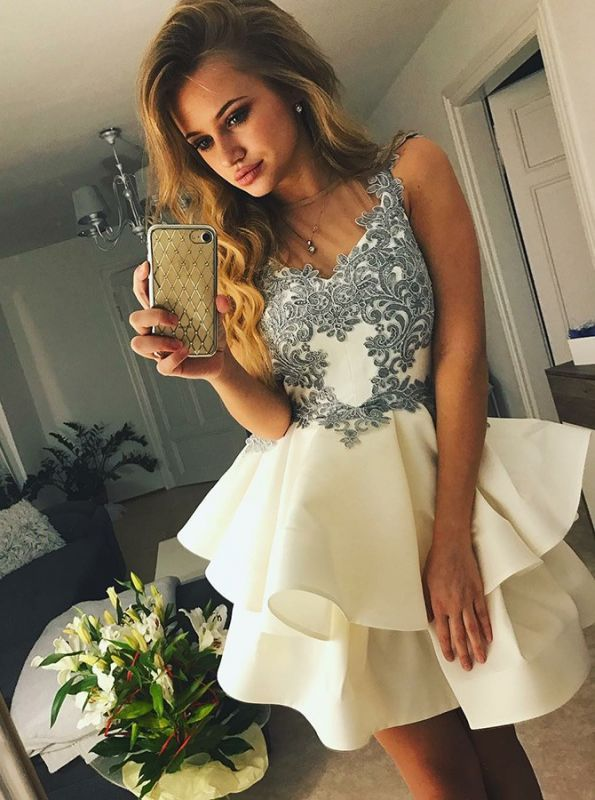 Elegant Appliques Homecoming Dresses  Classic Sexy Sleeveless Cocktail Dresses