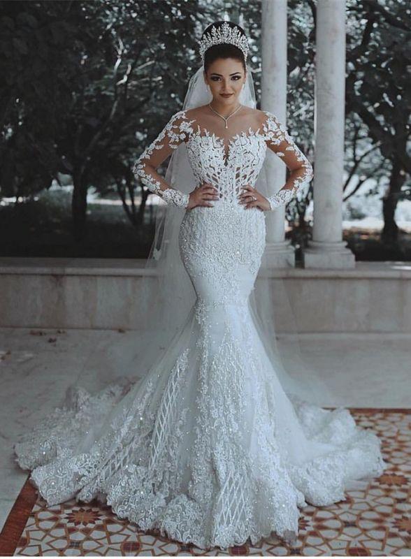 978276b22e Glamorous Long Sleeve Lace Wedding Dress | 2019 Mermaid Bridal Gowns On  Sale [Item Code: BA9863]