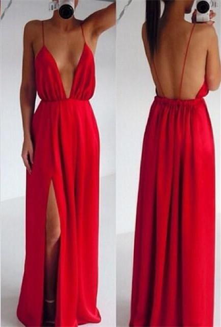 Sexy Red Spaghetti Straps Prom DressLong Deep V-Neck