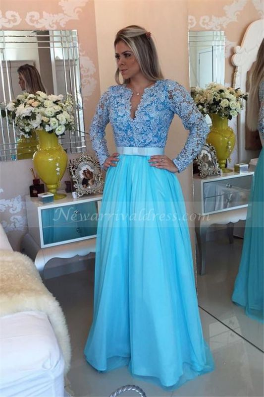 Long Sleeve Lace Evening Dress V-neck Blue Chiffon Prom Dress