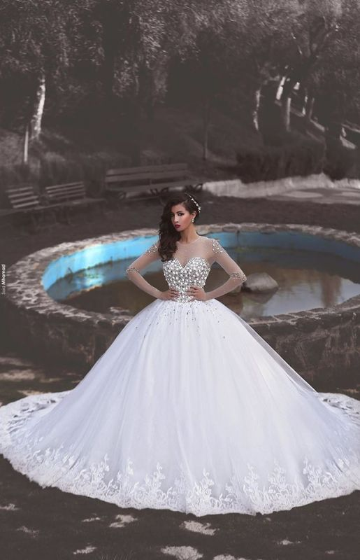 Elegant Long Sleeve Cheap Online Crystals Tulle Ball Gown Wedding Dresses