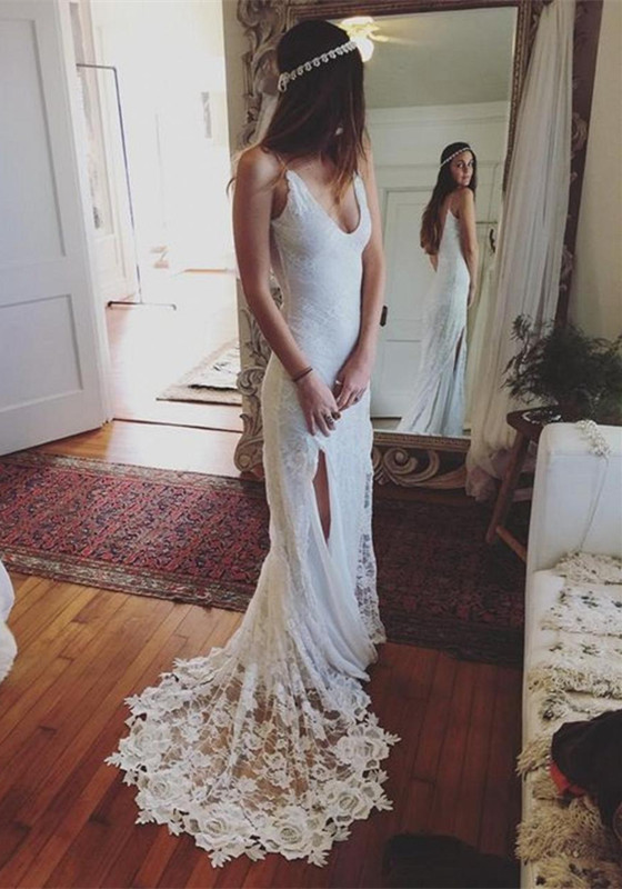 Sleeveless Gorgeous V-Neck Split Beach Wedding Dress Cheap