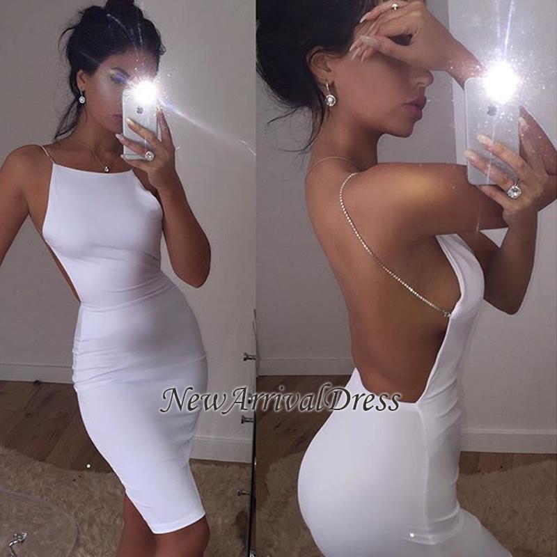 Mini White Sleeveless Spaghetti-Strap Backless Modern Cocktail Dress