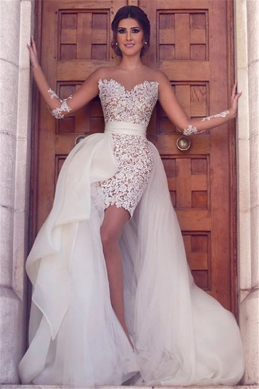 Long Sleeve Wedding Dress with Detachable Train Latest Short Lace Bridal Gown BA2363