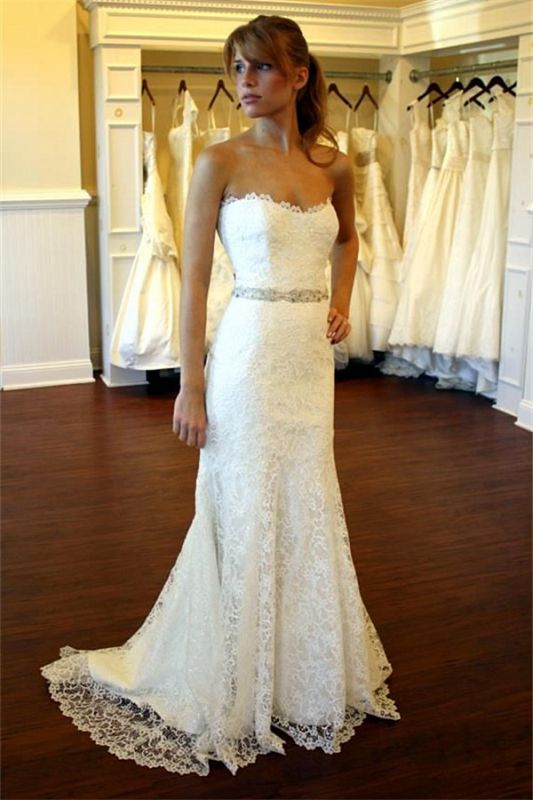 Simples Strapless Wedding Dresses Lace Cheap | Close-fitting Sexy Bridal Gowns with Crystalss Belt BA8083