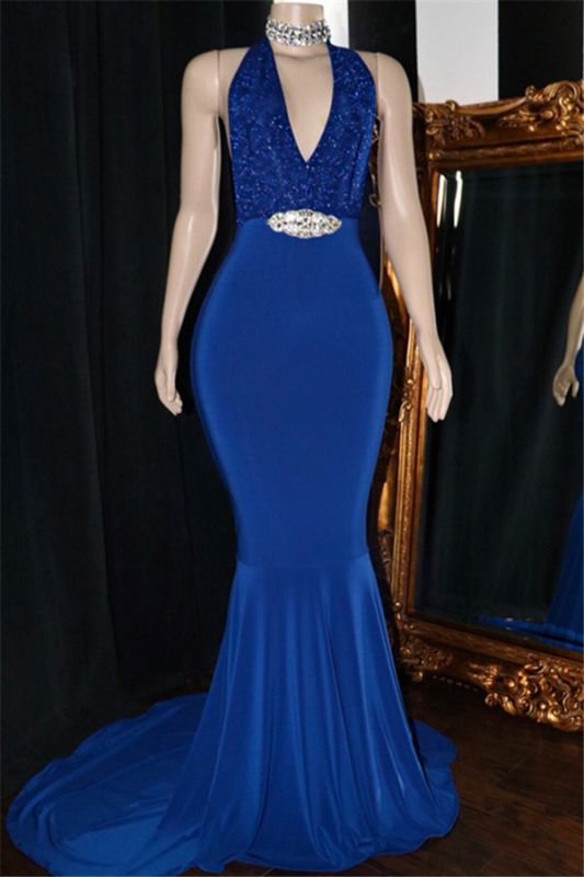 Royal Blue Formal Dresses with Crystals Belt  Halter Mermaid Sequins Long Prom Dresses Cheap