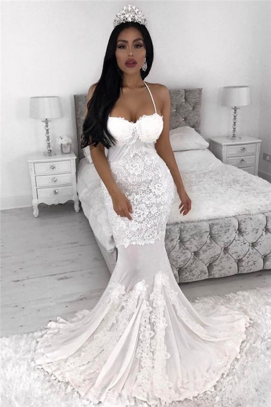 Sexy Straps  Mermaid Wedding Dresses | Lace Appliques  Wedding Gowns Cheap
