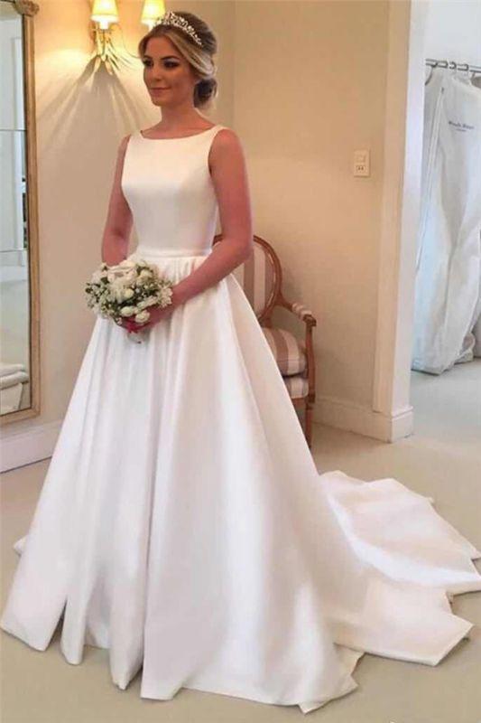 Robes de mariée élégantes en satin | Robe de mariée royale sans manches à dos ouvert