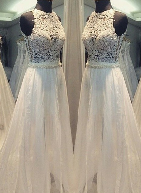 Simple A-line Sleeveless Hollow Scoop Sweep Train Wedding Dresses