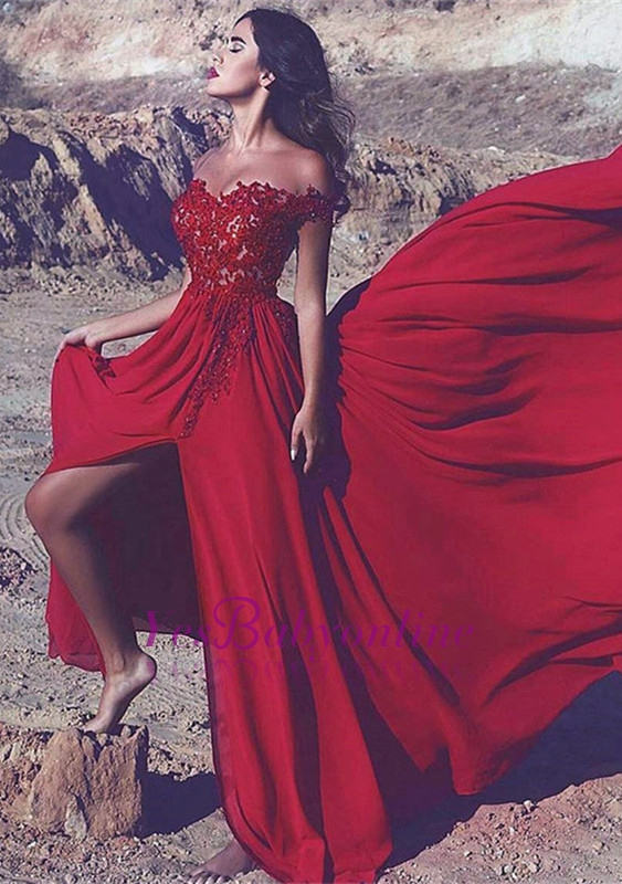 Appliques Red Split Long Lace Off-the-Shoulder Prom Dress