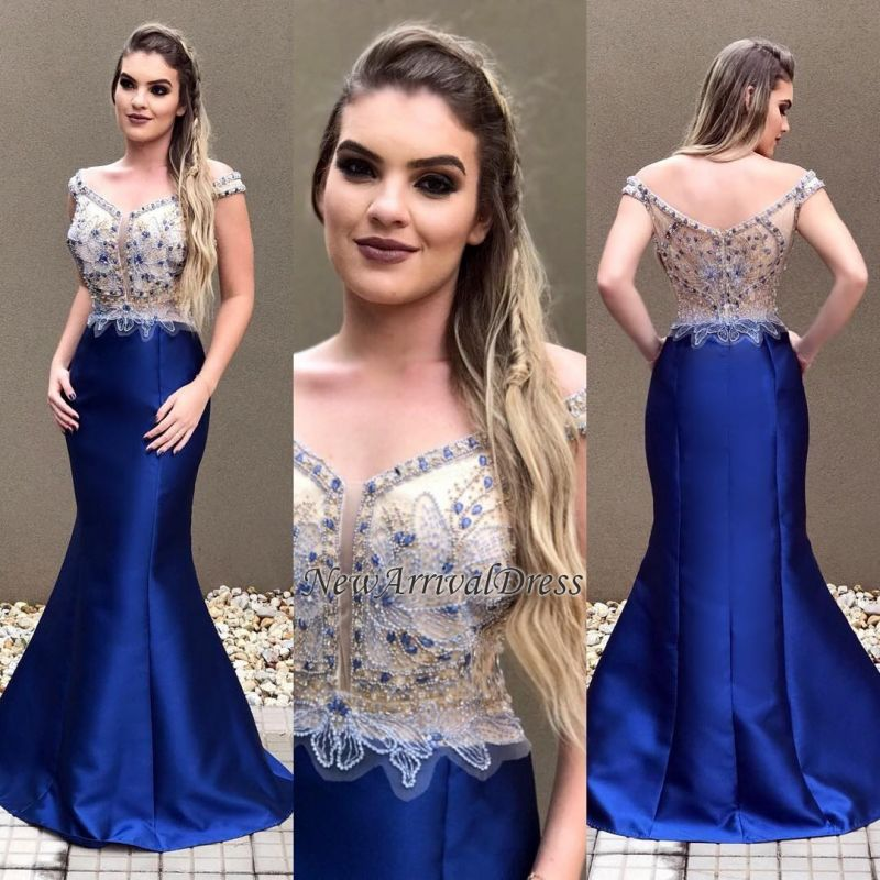 Sexy Off-the-Shoulder Crystal Zipper Blue Prom Dress