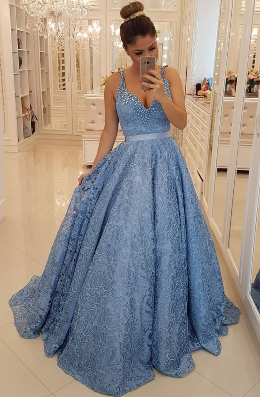 Popular V-neck Lace Long Formal Dresses | Sleeveless Beading Straps Cheap Prom Dresses BMT309