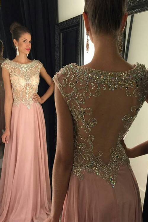 Pink Chiffon Prom Dresses Crystals Beaded Open Back Long Luxury Evening Gowns