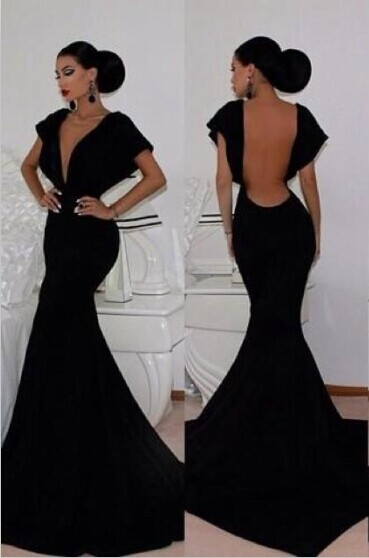 0fb374408fec Black Velvet Mermaid Prom Dresses Deep V-neck Open Back Cap Sleeves Long  Sexy Evening Gowns | Newarrivaldress.com