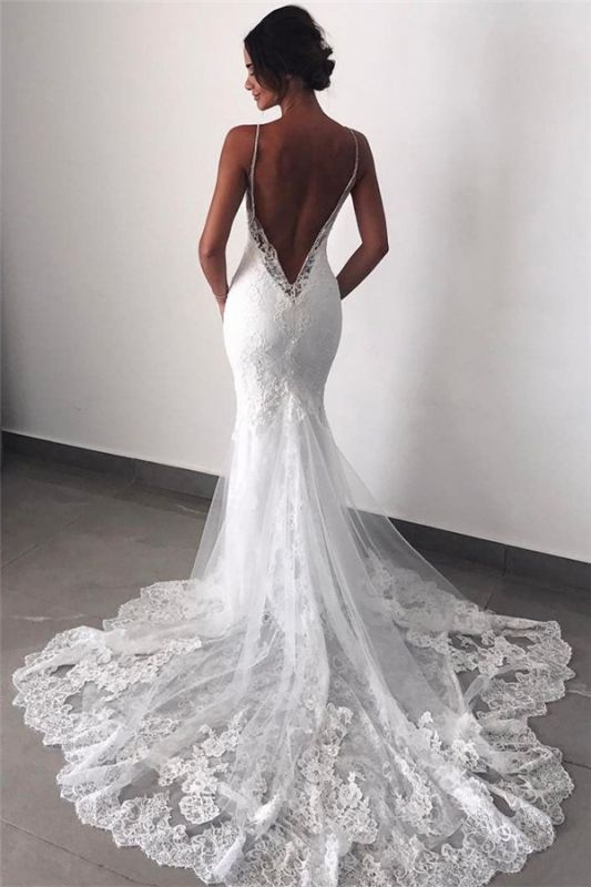 Backless Wedding Dresses Lace Mermaid Cheap |  Sexy Spaghetti Straps Bridal Gowns