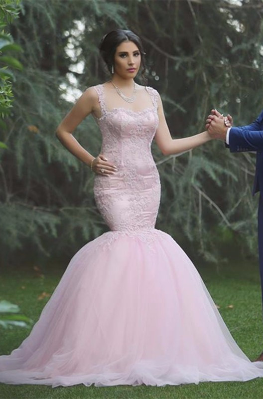 Mermaid Sleeveless Applique Long Pink Sexy Tulle Wedding Dresses