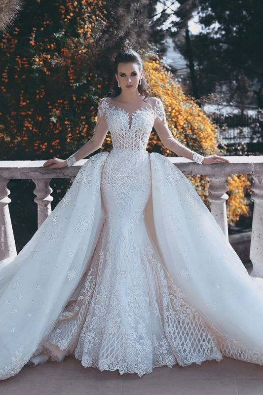 Long Sleeve Wedding Dresses with Lace Appliques | Sheer Tulle Open Back Bridal Gowns with Cathedral Train