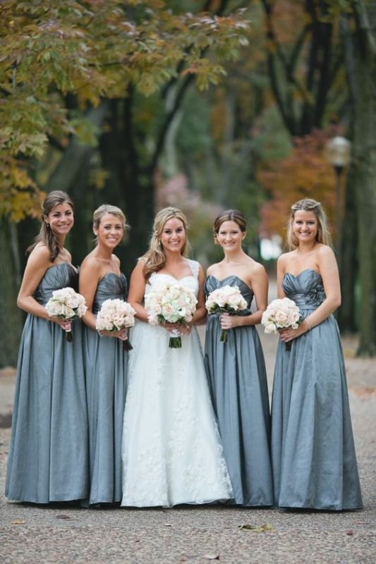 Chic Sweetheart Sleeveless Blue Long Bridesmaid Dresses