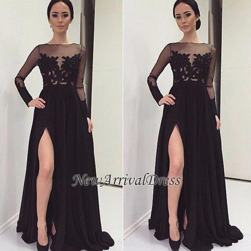 Bateau Black Prom Dress
