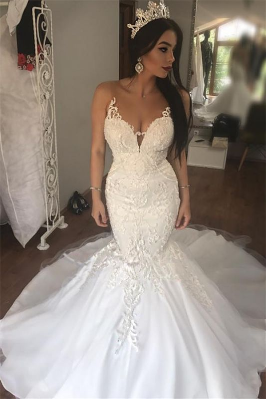 Sleeveless Lace Mermaid Gorgeous Long Buttons Wedding Dresses Cheap